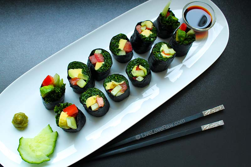 Kale sushi, raw vegan, by Live Love Raw