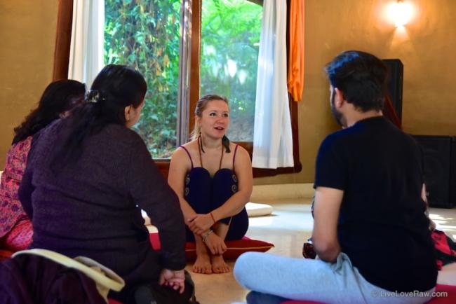 Anya Andreeva at family group sharing. Photo credit: Avneesh Kumar