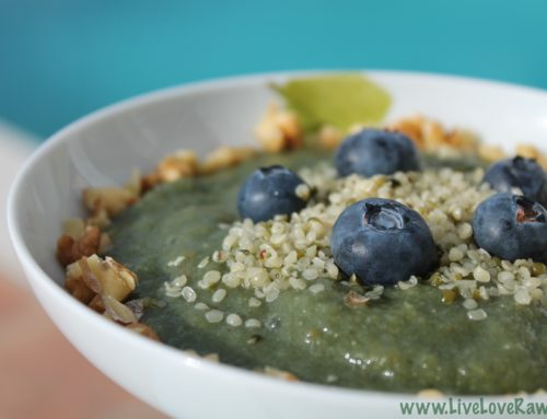 Raw vegan super-food breakfast porridge