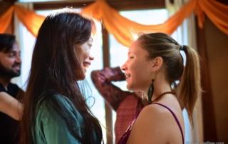 Anya Andreeva talking with friend. Photo credit: Avneesh Kumar