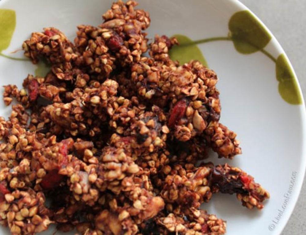 Super-nutty, super-fruity raw vegan buckwheat granola
