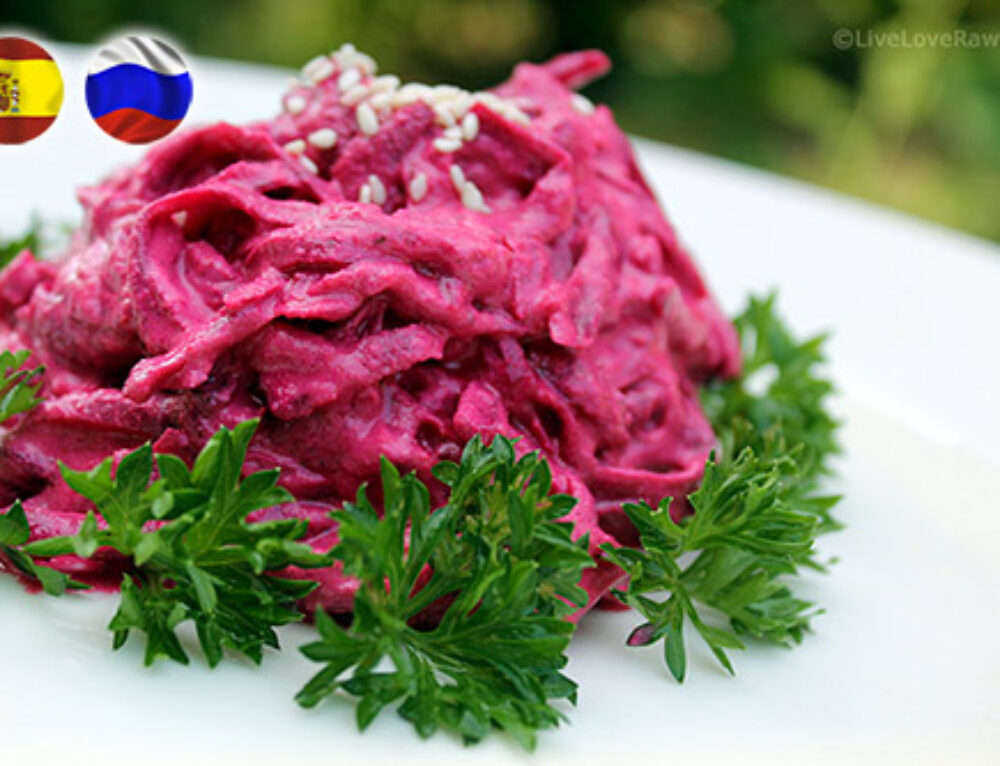 "Dairy-free beetroot in garlic ""mayo"" salad"