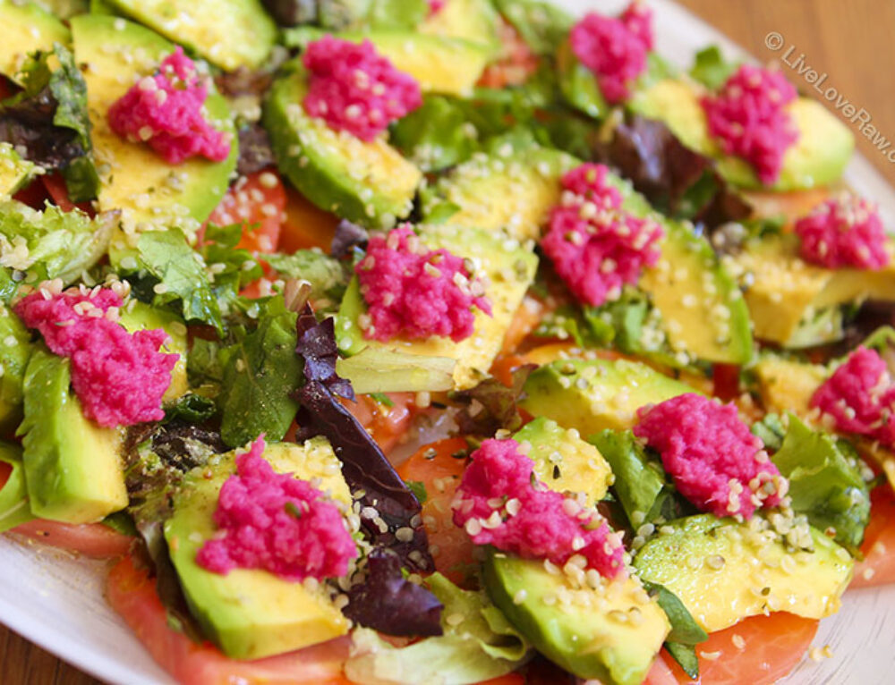 Tomato and avocado salad with home-made horseradish sauce