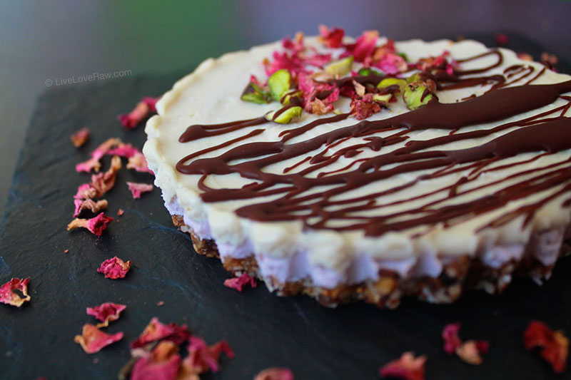 Strawberry no bake cheesecake with rose petals from Anya Andreevas raw food kitchen in Marbella, Spain