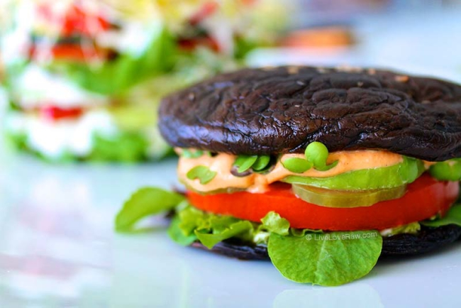 Dehydrated raw vegan portobello mushroom burgers and big mac salad by Live Love Raw