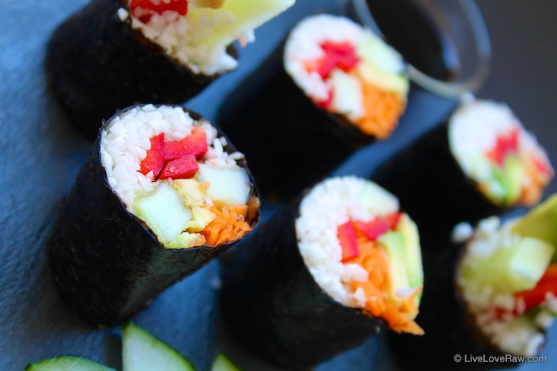 cauliflower raw vegan sushi by Live Love Raw