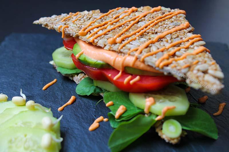 Raw vegan, dairy-free mayo sandwich by Live Love Raw