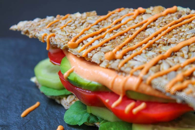 Raw vegan, gluten-free mayo sandwich by Live Love Raw