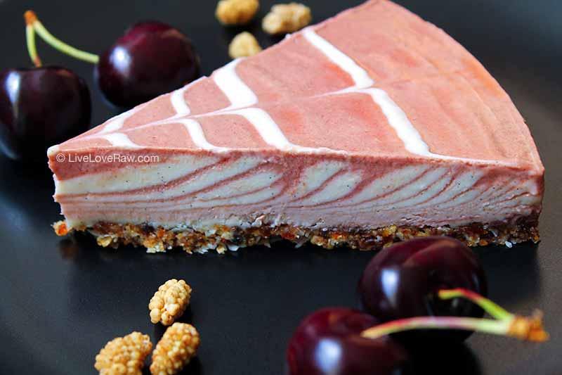 Raw vegetarian cherry cheesecake, sugar free, by Anya Andreeva