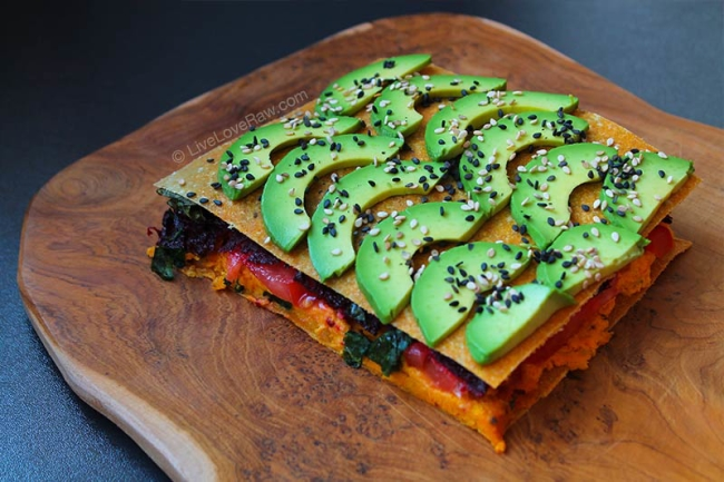 Warm raw vegan corn lasagne by Live Love Raw