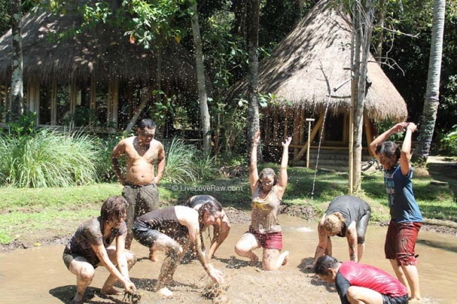 Anya-in-the-mud-pit,-yoga-for-kids-teacher-training,Bali