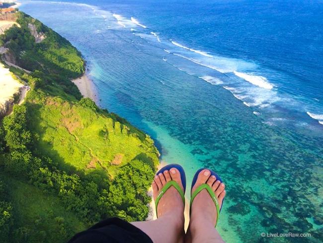 Wearing flip flops whilst paragliding in Nusa Dua, Bali