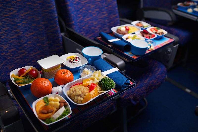 Tray of food on the plane, business class travel