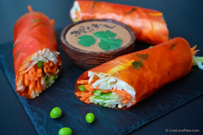 papaya wraps with balinese spicy satay sauce. Raw vegan food by Anya Andreeva, Live Love Raw