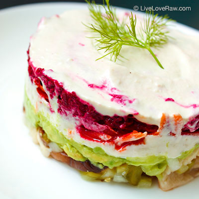 Raw vegan Russian salad by Live Love Raw in Marbella