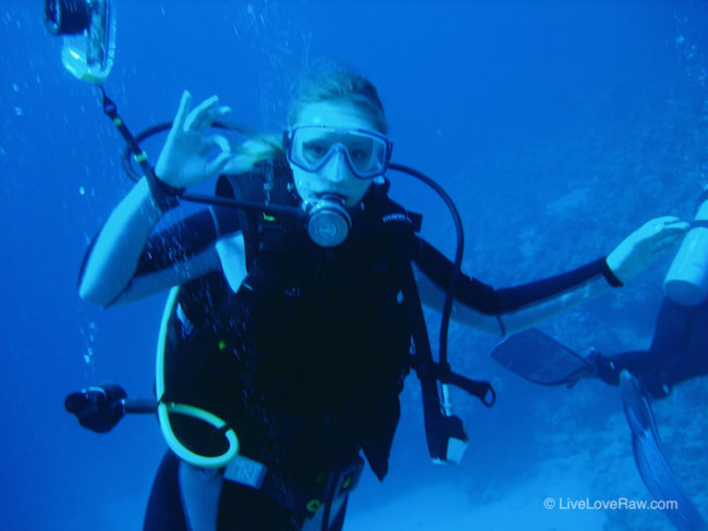 Anya Andreeva scuba diving at Ras Bob in Egypt