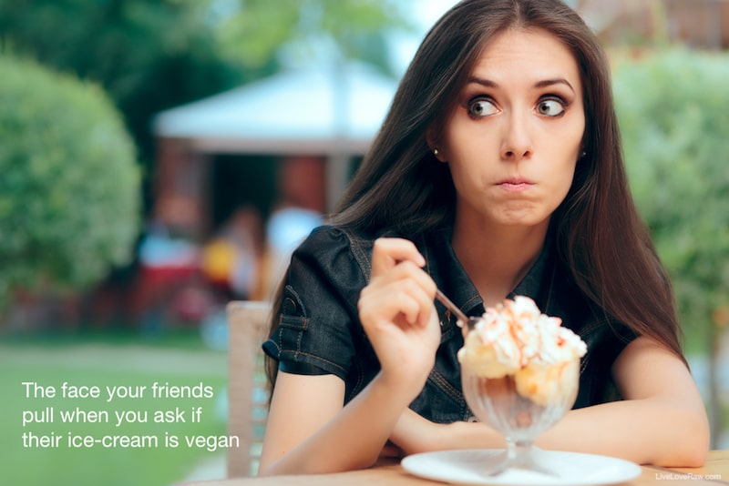 girl eating ice cream, vegan meme
