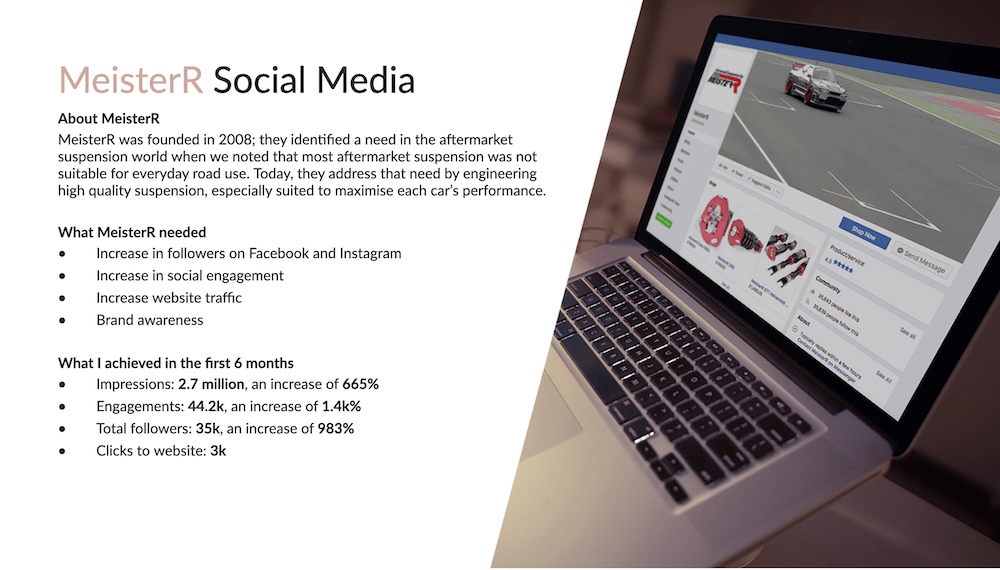 automotive client social media management stats