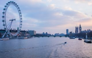 London river Thames at sunset with London eye and Big Ben