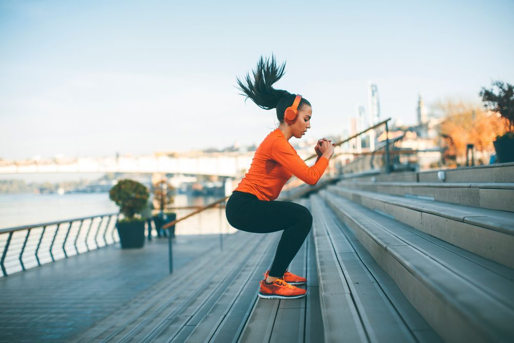 Weight-loss workouts, woman exercising on the stairs, fitness, sports